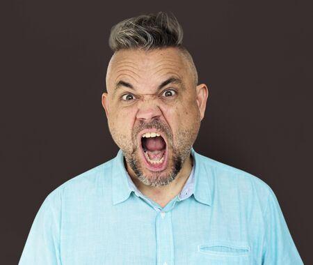 irritated: Caucasian Man Shouting Angry Annoyed Stock Photo