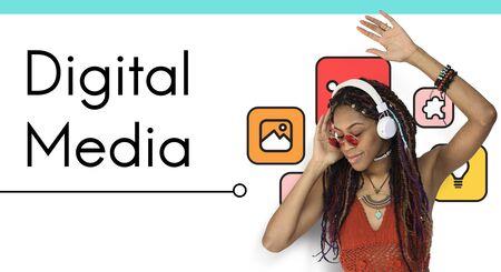 Digital Media Global Technology Connection Technology Archivio Fotografico - 80580456