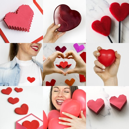 Adult Woman with Love Heart Artwork Studio Collage Stok Fotoğraf