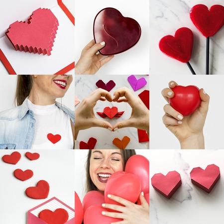 curare teneramente: Donna adulta con amore Cuore Artwork Studio Collage