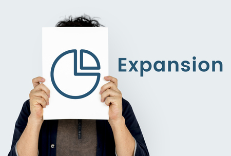 Expansion Perfomance Pie Chart Concept Stock Photo