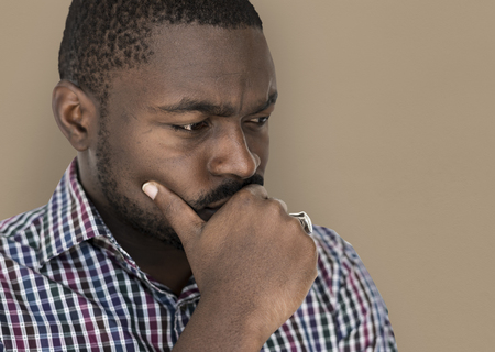 African descent man is feeling nervous Stock Photo - 80581335