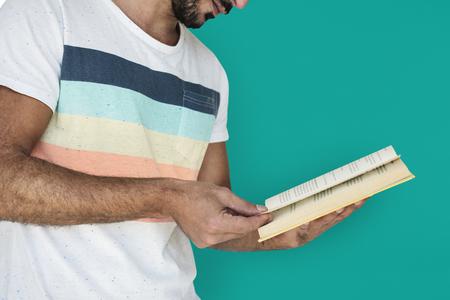 Man Holding Book Reading Studious