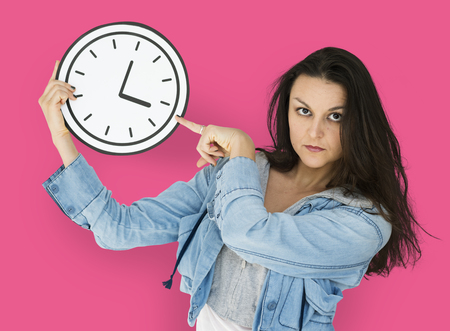 Woman Serious What Time is it Paper Craft Arts Clock Studio Portrait