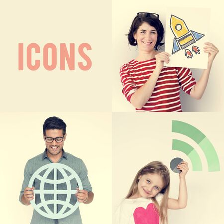 papercraft: Set of Diverse People with Global Network Connection Icons Papercraft Studio Collage Stock Photo