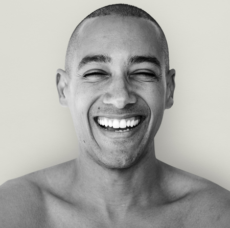 skinhead: A happiness guy is smiling Stock Photo