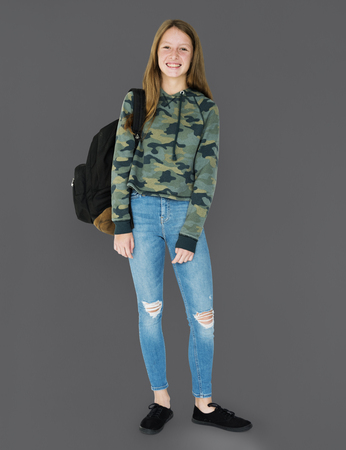 Student girl casual standing with smiling Stock Photo - 80584539