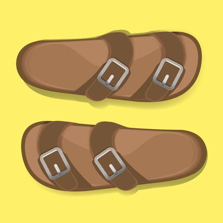 男茶色カジュアルなフリップフ ロップ サンダル靴ベクトル