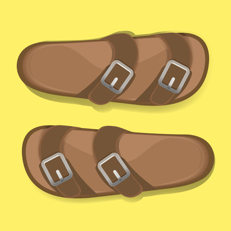 Man Brown Casual Flip Flop Sandal Shoes Vector Illustration