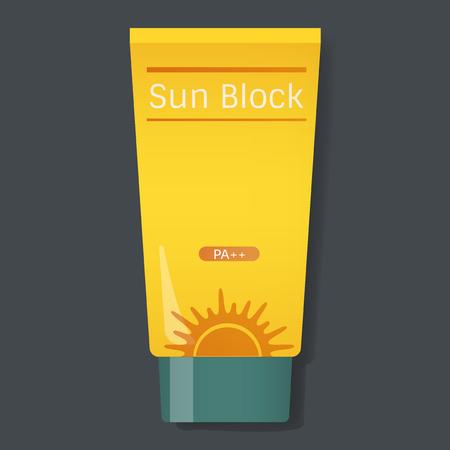 Sun Block Protection Yellow Tube Vector Illustration