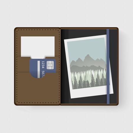 Photo and Card in Wallet Graphic Illustration Vector Imagens - 80644783