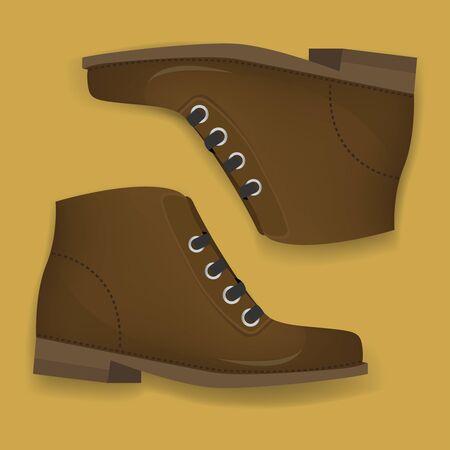 Brown Boots Shoes Graphic Illustration Vector Ilustração