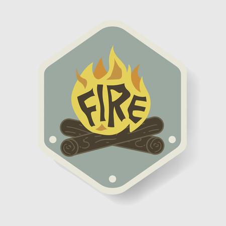 Bonfire Badge Camping Graphic Illustration Vector