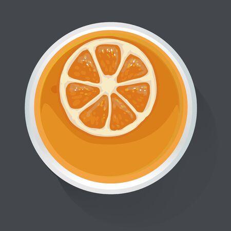 Orange Juice Vector Illustration Top View