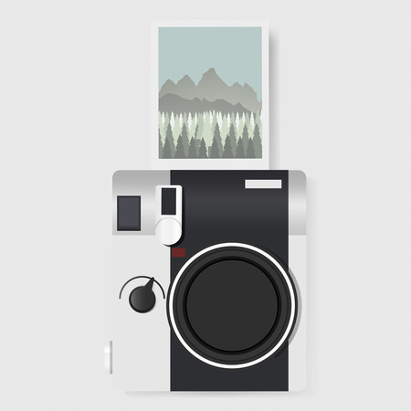Camera with Captured Photo Graphic Illustration Vector Ilustração