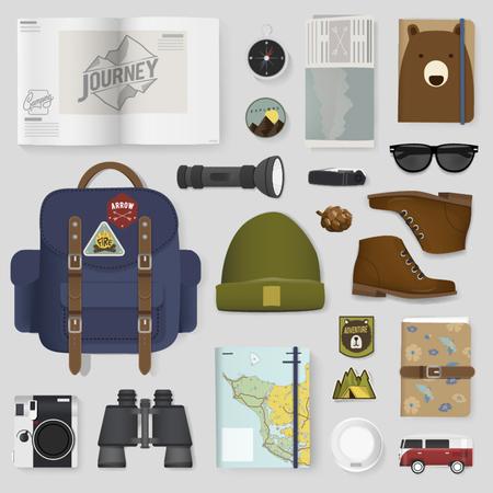 Mixed Set of Travel Packing Stuff Illustration Vector Illustration