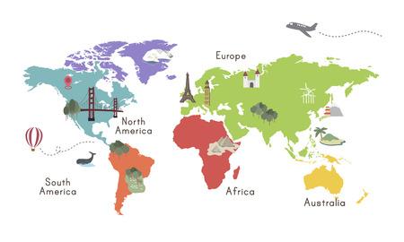 World Continent Map Location Graphic Illustration