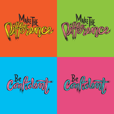 Make The Difference Be Confidence Life Inspiration Motivation Word Graphic Illustration 向量圖像