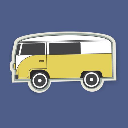 Gele Van Auto Voertuig Reizen Grafische Illustratie Vector