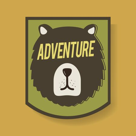 Bear Adventure Badge Graphic Illustration Vector Stock Vector - 80638827