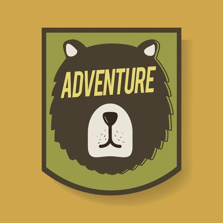 Bear Adventure Badge Graphic Illustration Vector Illustration