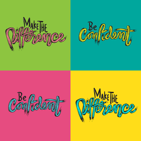 Make The Difference Be Confidence Life Inspiration Motivation Word Graphic Illustration Banco de Imagens - 80716066
