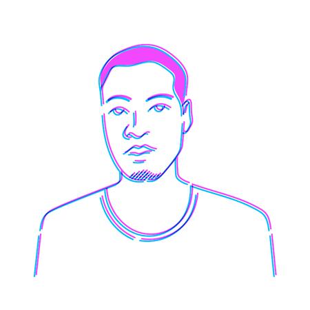 Man Doodle Draw Schets Illustratie Vector