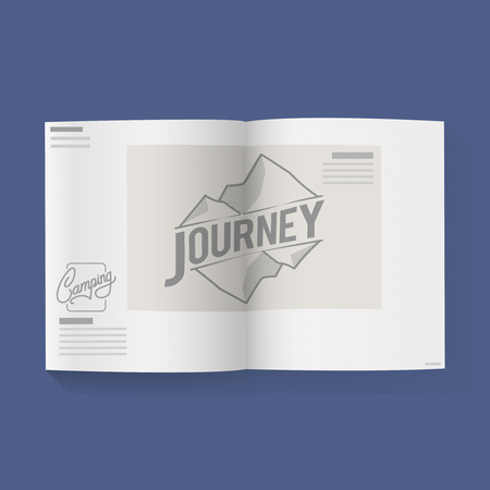 Journey word on Open Book Graphic Illustration Vector