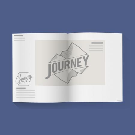 Reiswoord op Open Boek Grafische Illustratie Vector Stock Illustratie