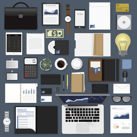 financial item: Gadgets of business vector illustration