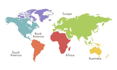 Wereld Continentekaart Locatie Grafische Illustratie Stock Illustratie