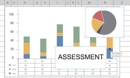 評価バー グラフの円グラフの統計情報 写真素材