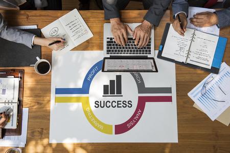 asian man laptop: Success Diagram Processes Circle Concept