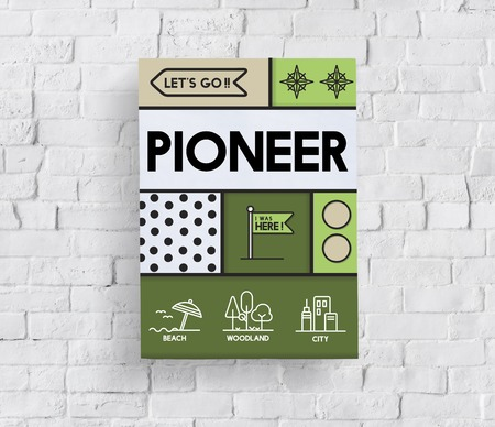 Discovery Pioneer travel outdoors graphic Stok Fotoğraf - 80722793