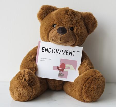 Teddybär mit Wohltätigkeitsspenden Kampagne Illustration Standard-Bild - 80722827