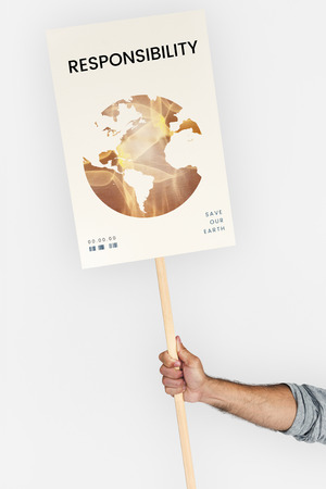 protester: Global environment ecology pollution graphic Stock Photo