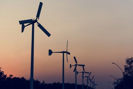 Windmills with Sunset Dusk Sky Outdoors 版權商用圖片