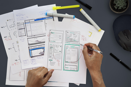 Grafisch ontwerp Webpagina Handen