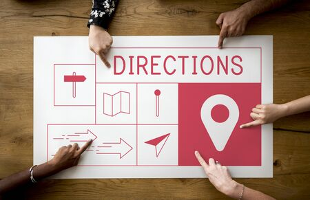 paper pin: Map Direction Pin Tag Location Journey Stock Photo