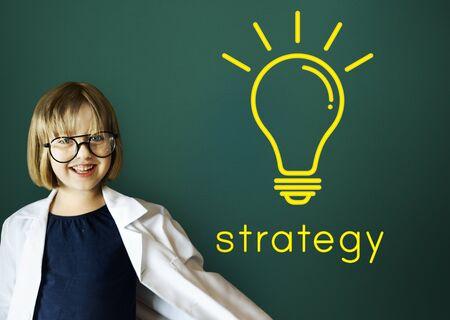 pretending: Strategy word light bulb icon graphic Stock Photo
