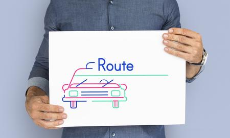 Man holding banner of automotive car rental transportation advetisement