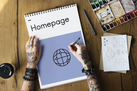 website words: HTML HTTP Homepage Technology Icon Stock Photo