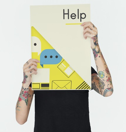advice: Hands holding network graphic overlay banner