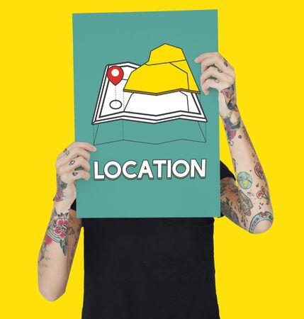 short trip: GPS location map travel graphic Stock Photo