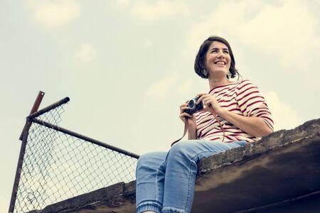 여자 여행자 사진사 휴가 라이프 스타일 여행