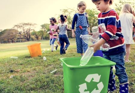 selfless: Group of kids school volunteer charity environment