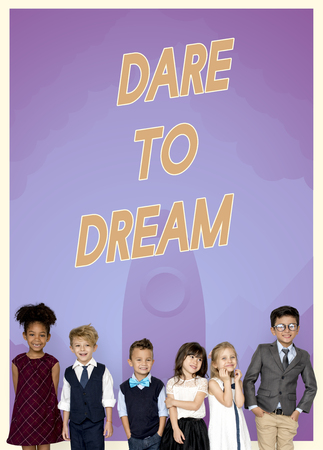 dare: Group of school kids with aspiration word graphic Stock Photo