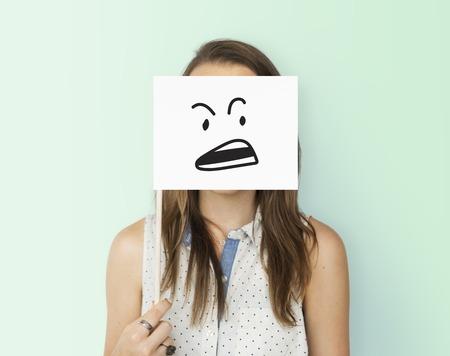 Dibujo Expresiones faciales Emociones Sentimientos Foto de archivo - 80725012