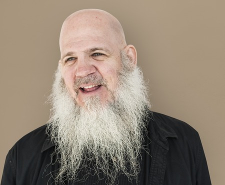 Men Adult Long Beard Bald Head Smile Stock Photo