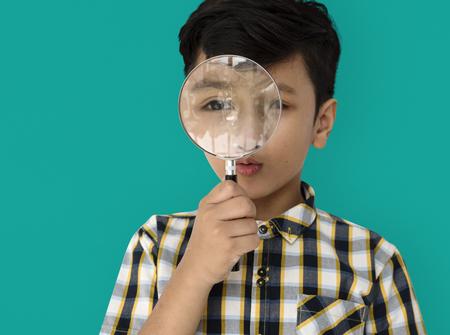 Child Boy Studio Portrait Gesture Stock Photo